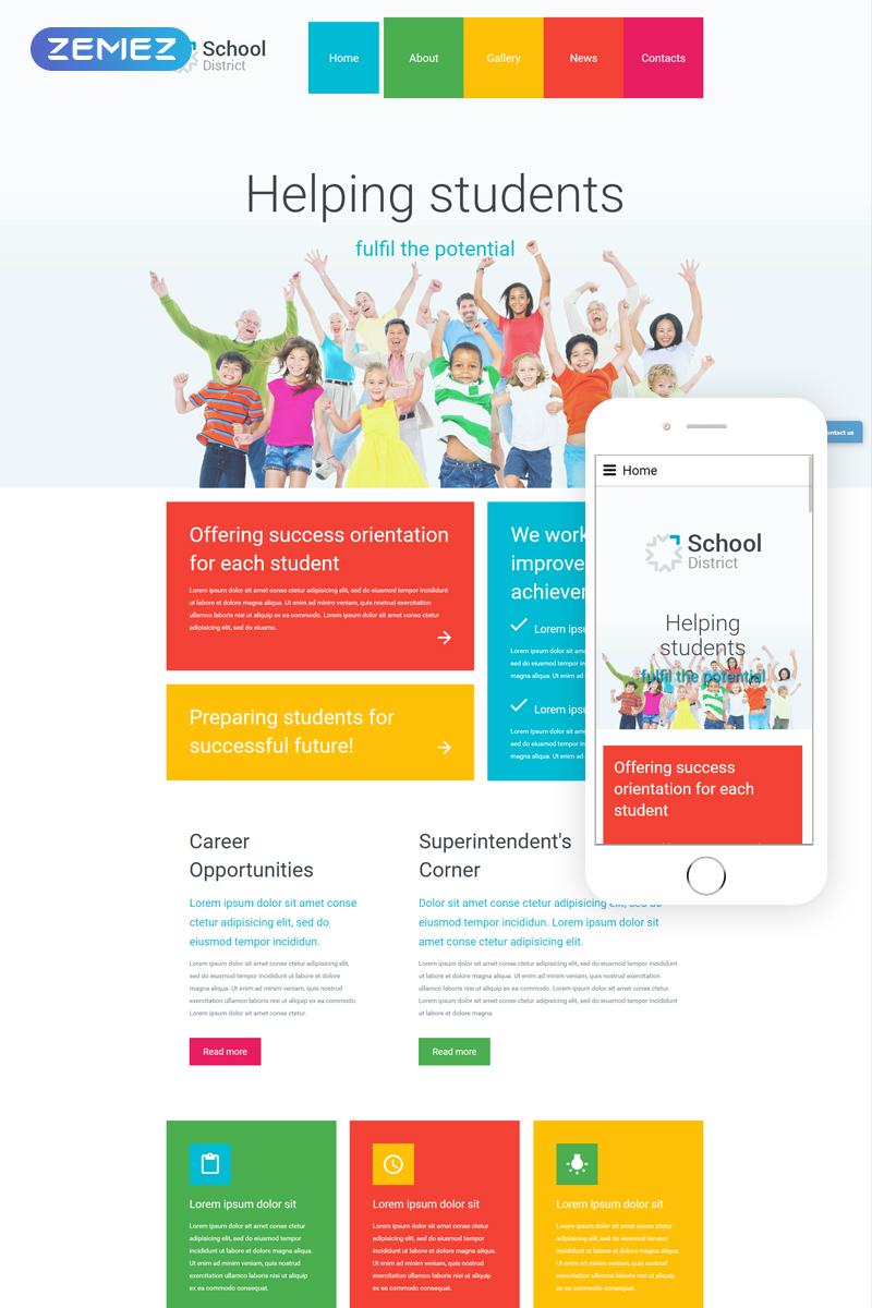 """School District"" 响应式Joomla模板 #55489 - 截图"