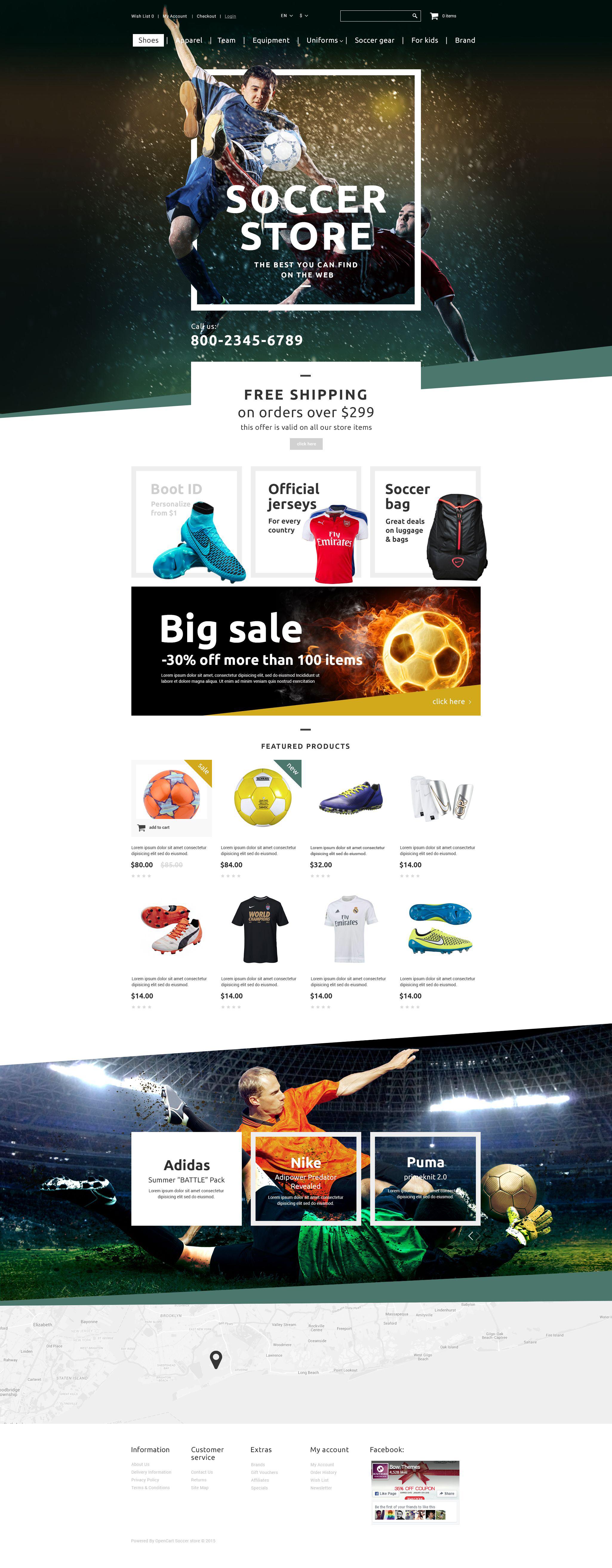 """Soccer Shop"" Responsive OpenCart Template №55431"