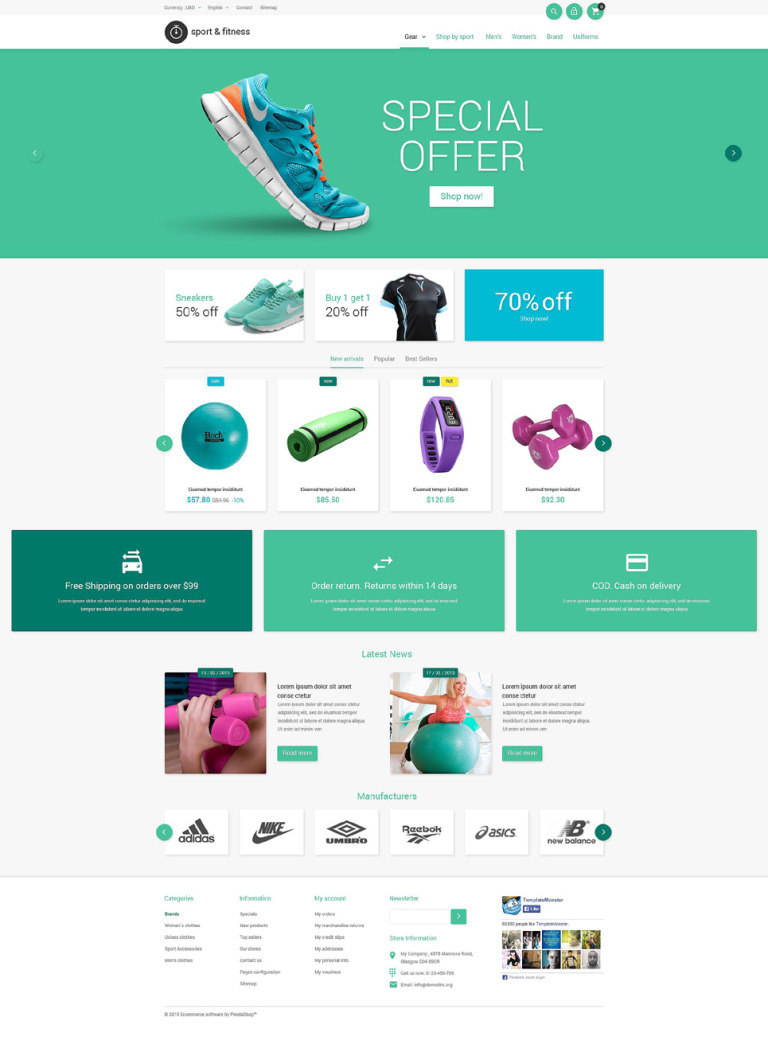 Sporting Goods PrestaShop Theme New Screenshots BIG