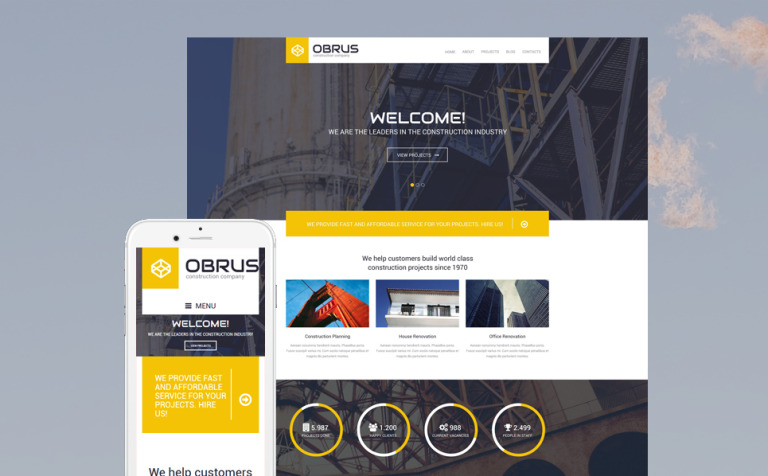 Tema de WordPress #55425 para Sitio de Empresas de construcción