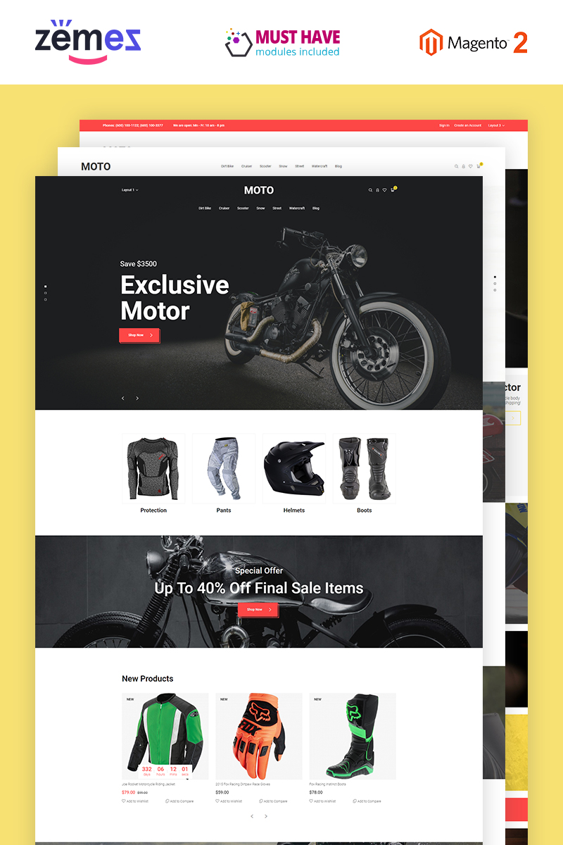 "Tema Magento Responsive #55419 ""Motorsports Store"""