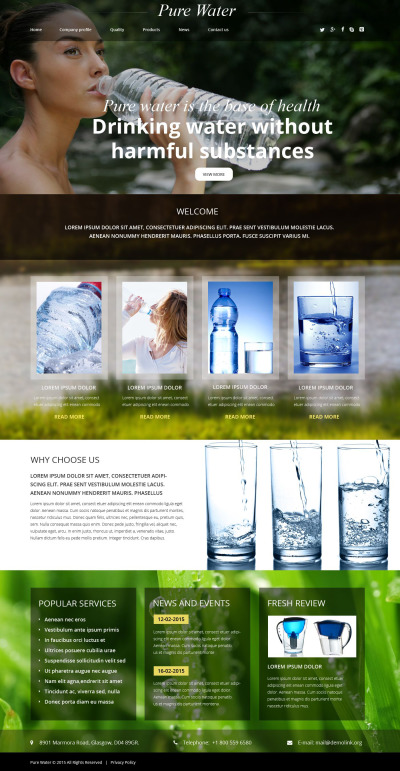 Water Responsive Website Template #55415