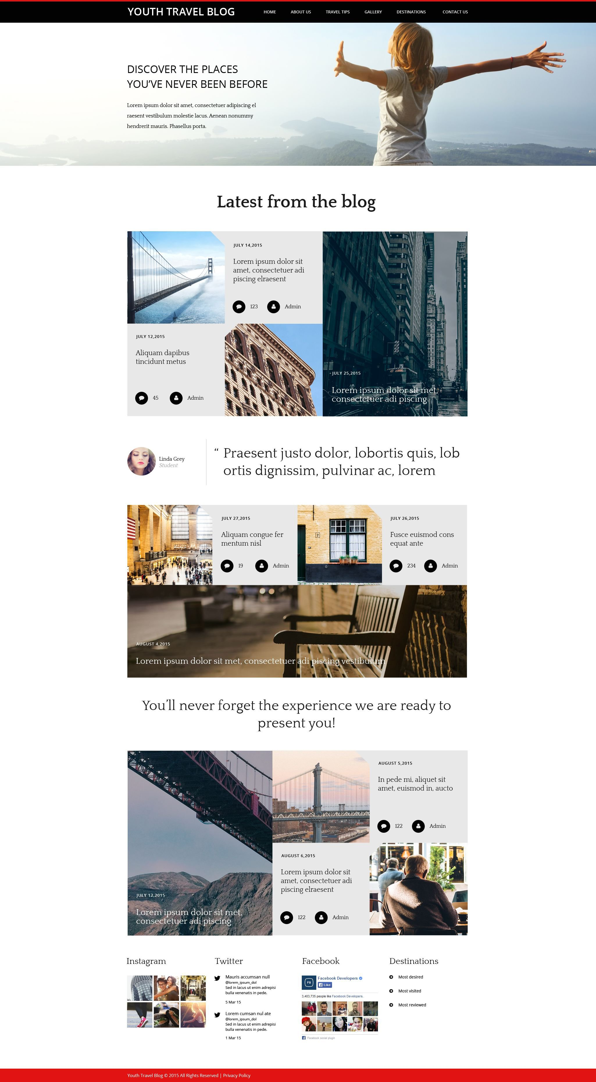 Youth Travel Blog Template Web №55406