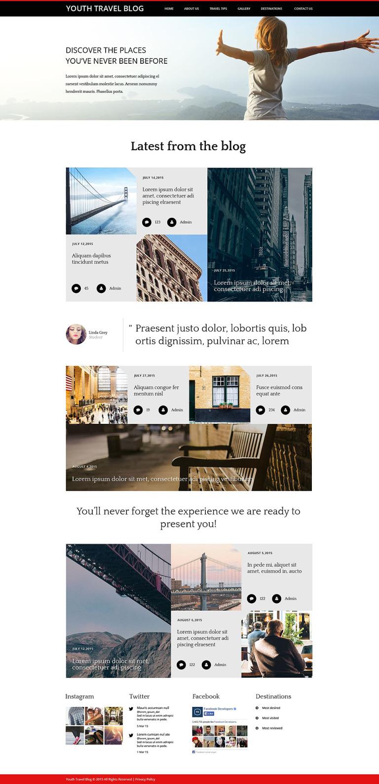Youth Travel Blog Website Template New Screenshots BIG