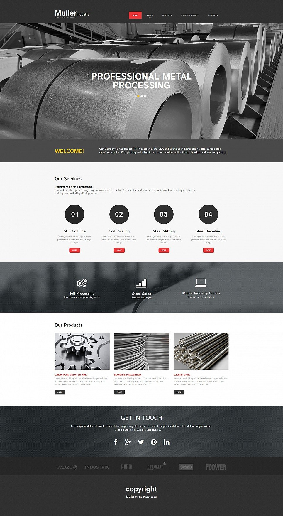 Steel suppliers site template