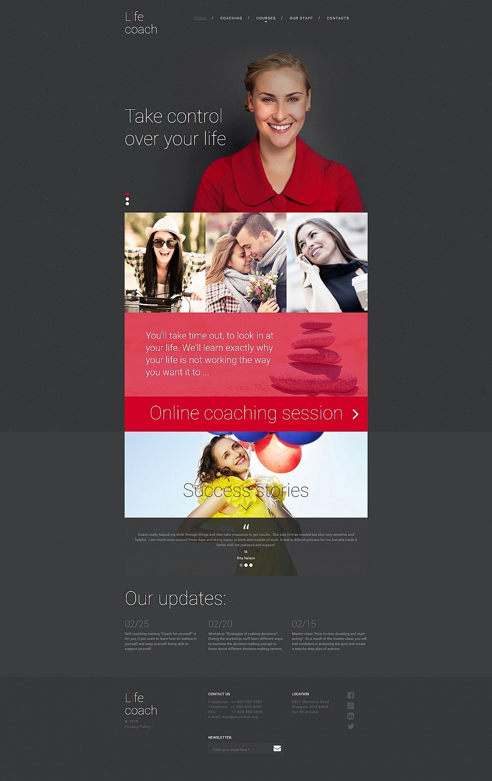 Dark responsive web design for coaching