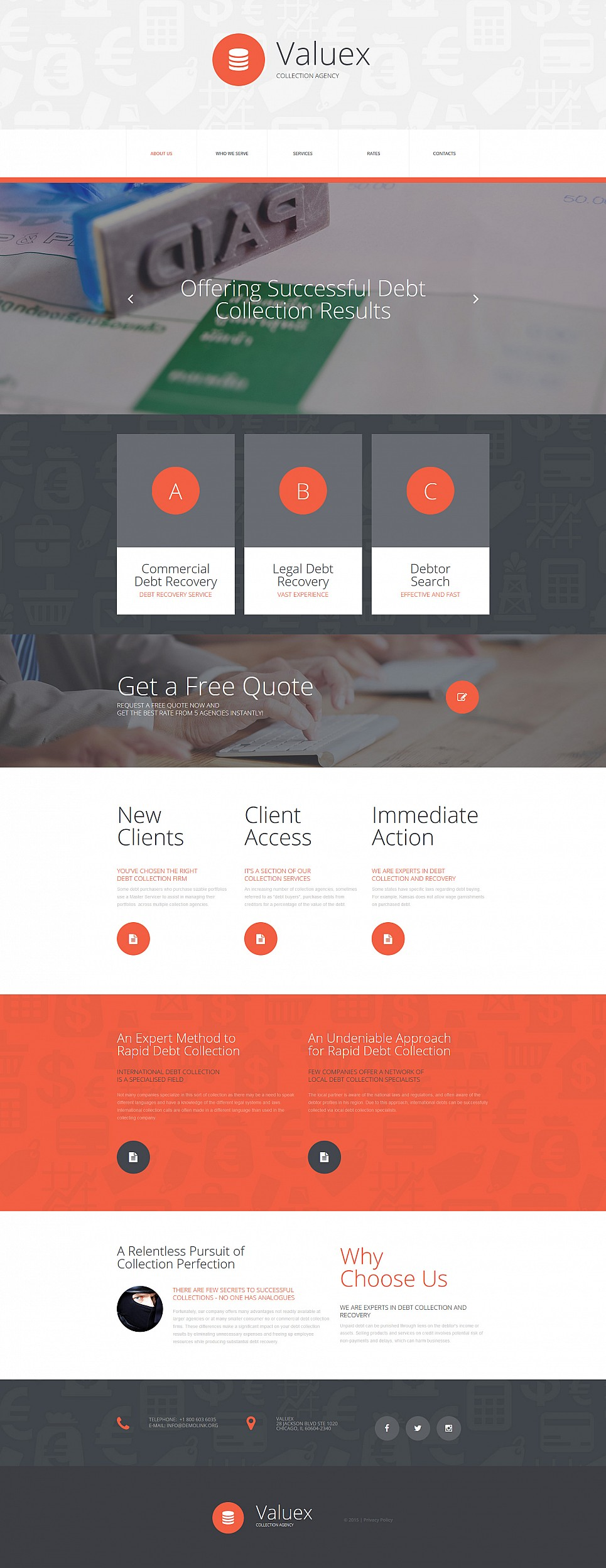 Business site template with parallax