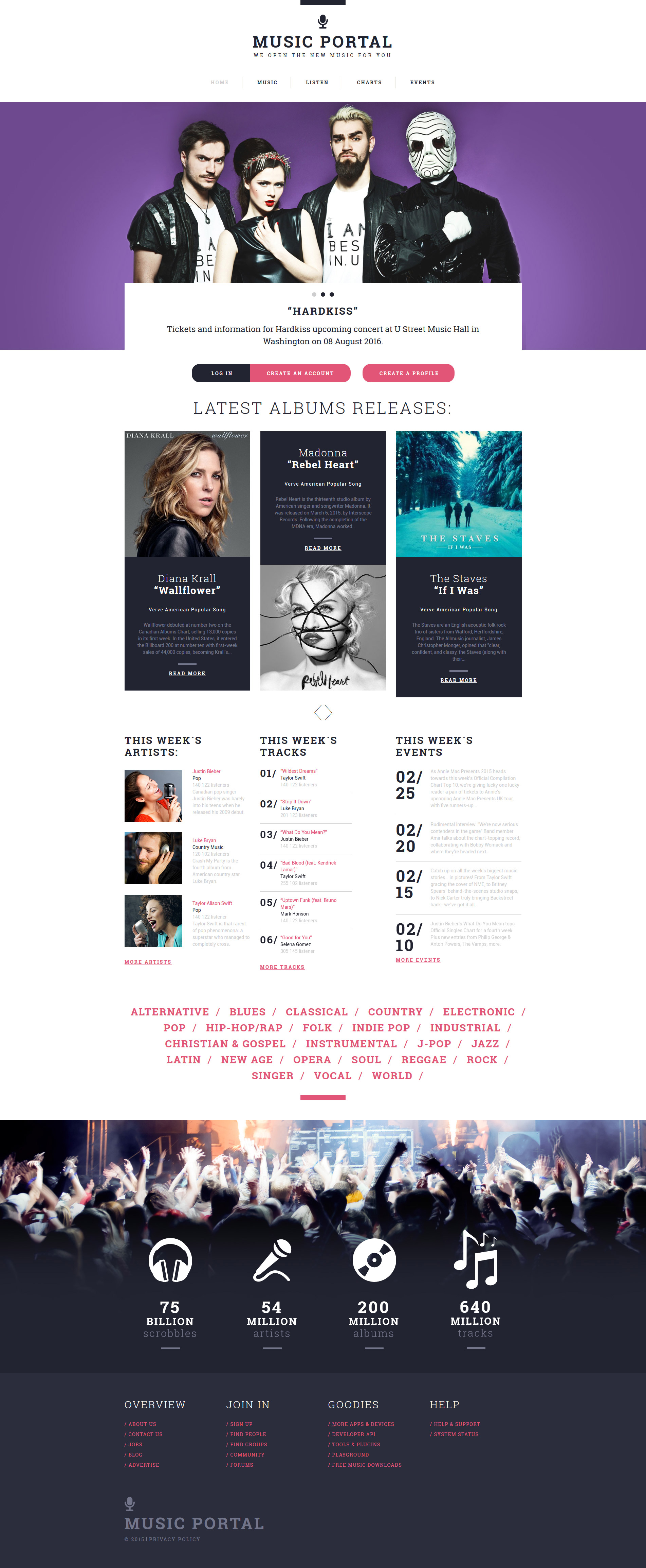 Адаптивный HTML шаблон №55566 на тему музыкальный портал - скриншот