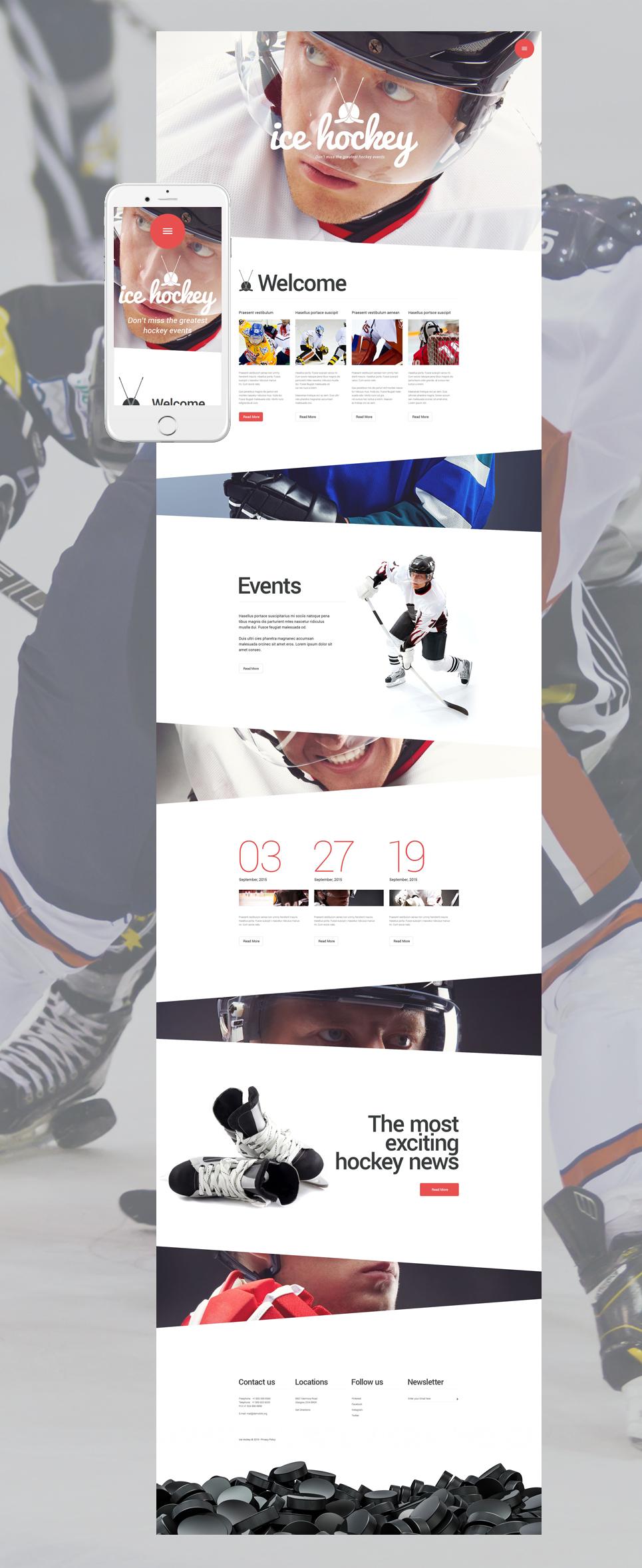 Адаптивный шаблон сайта на тему хоккей #55579