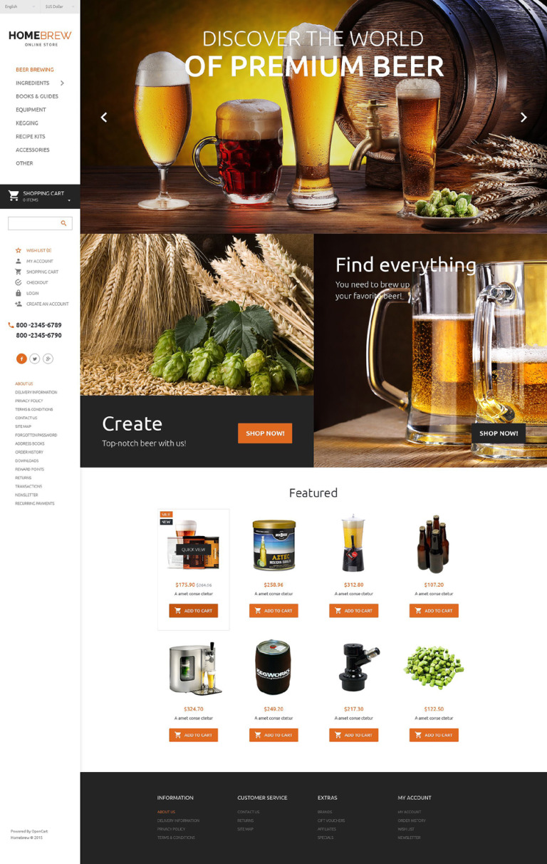 Brewery Responsive OpenCart Template New Screenshots BIG