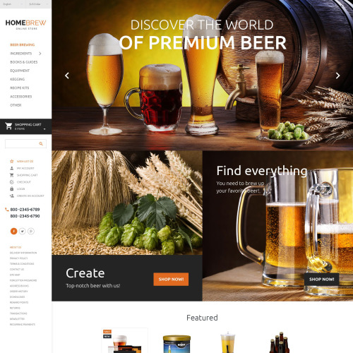 Home Brew - OpenCart Template based on Bootstrap