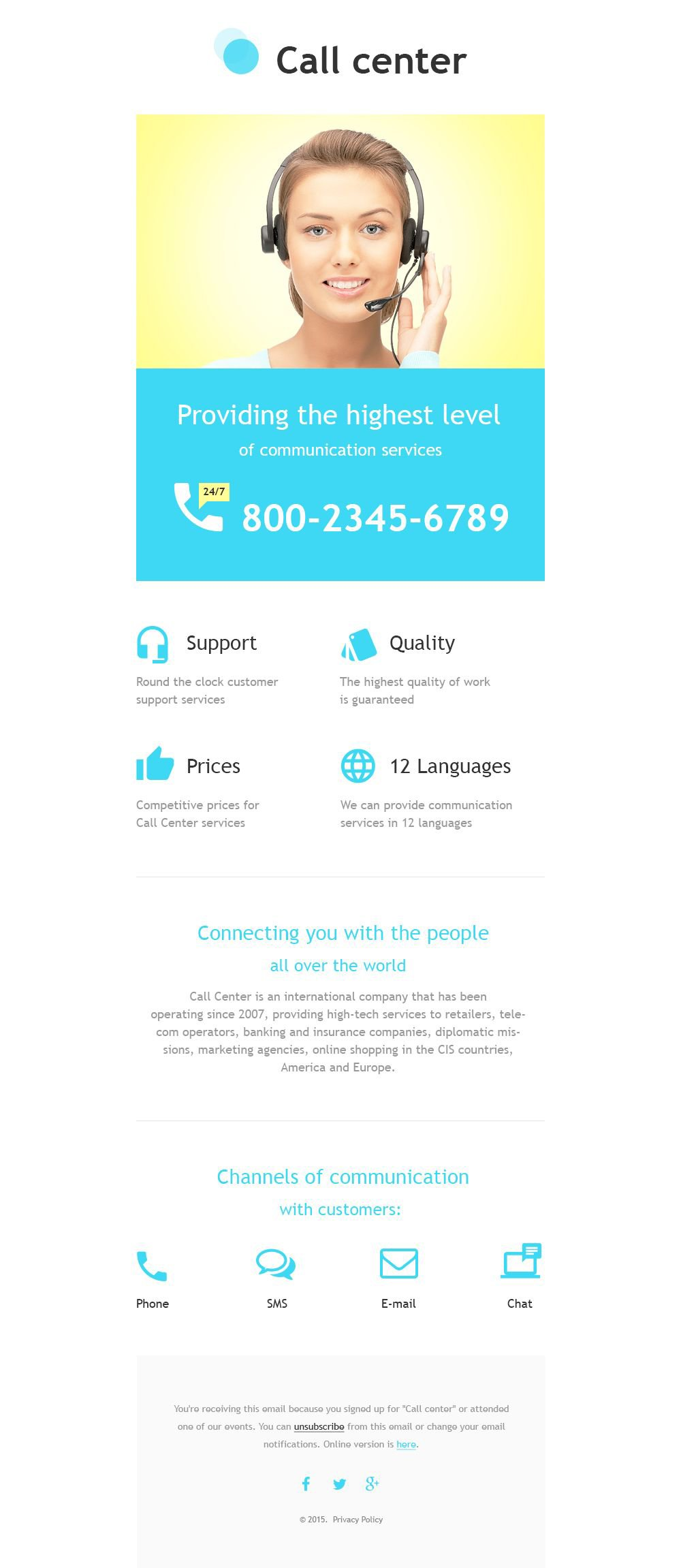 call center responsive newsletter template  55586