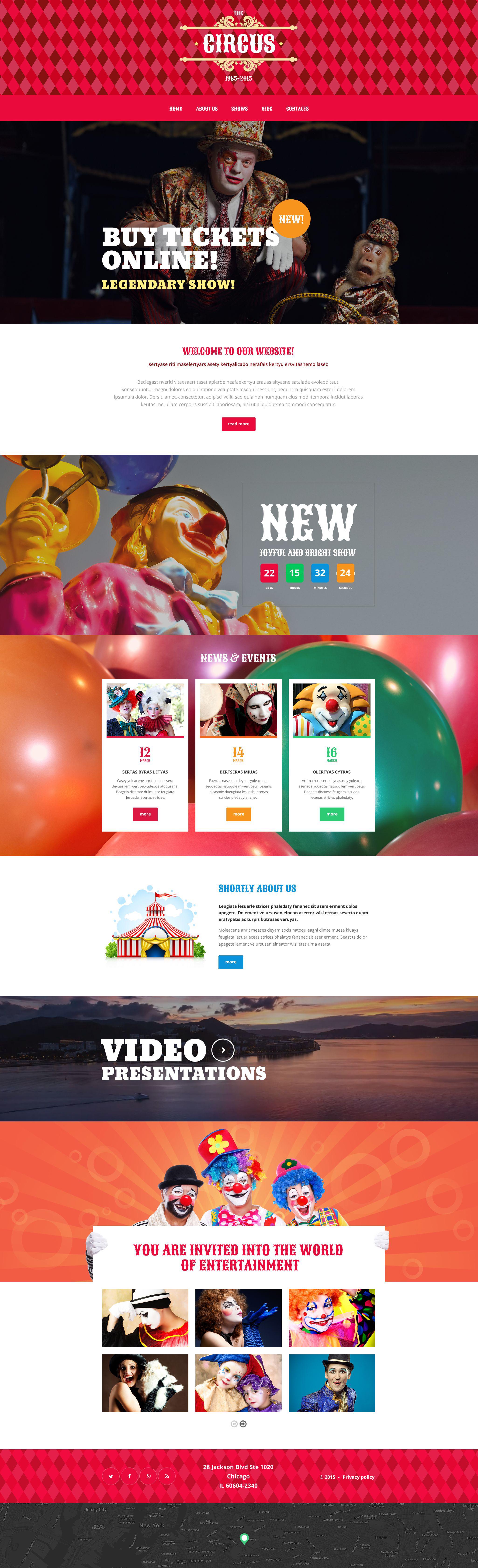 """Circus Tent"" - адаптивний WordPress шаблон №55589 - скріншот"