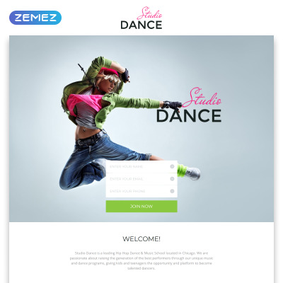 Dance studio responsive landing page template 58029 yadclub Images