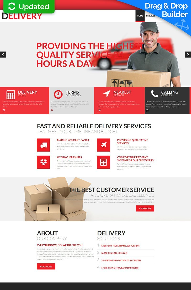 Delivery Services Responsive Moto CMS 3 Template