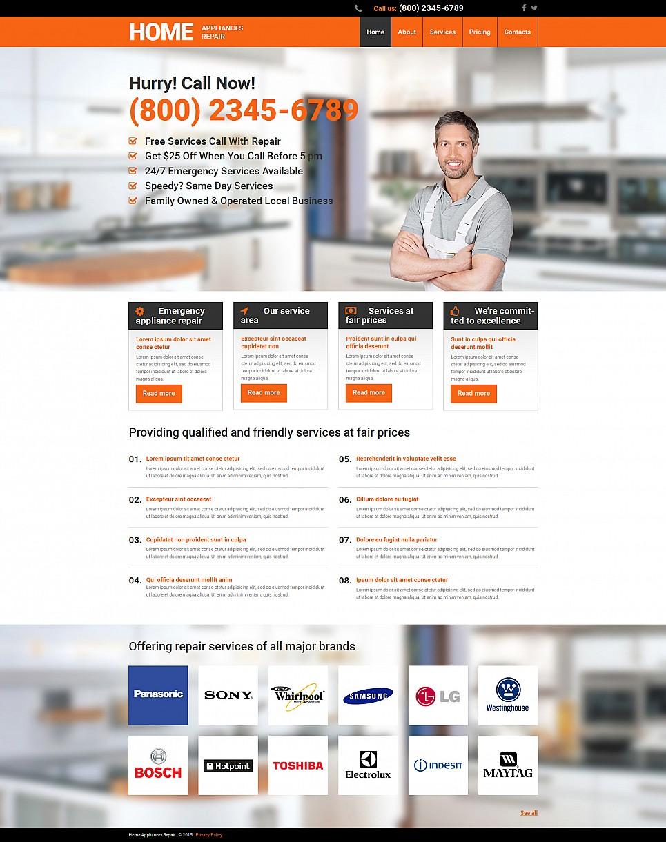home repairs website builder responsive moto cms 3 template 55501