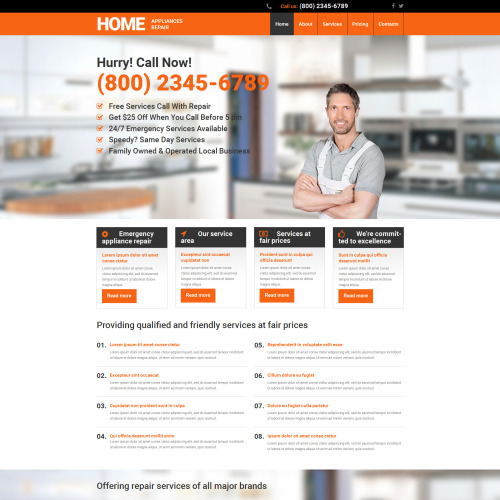 Home Appliances Repair - MotoCMS 3 Template based on Bootstrap