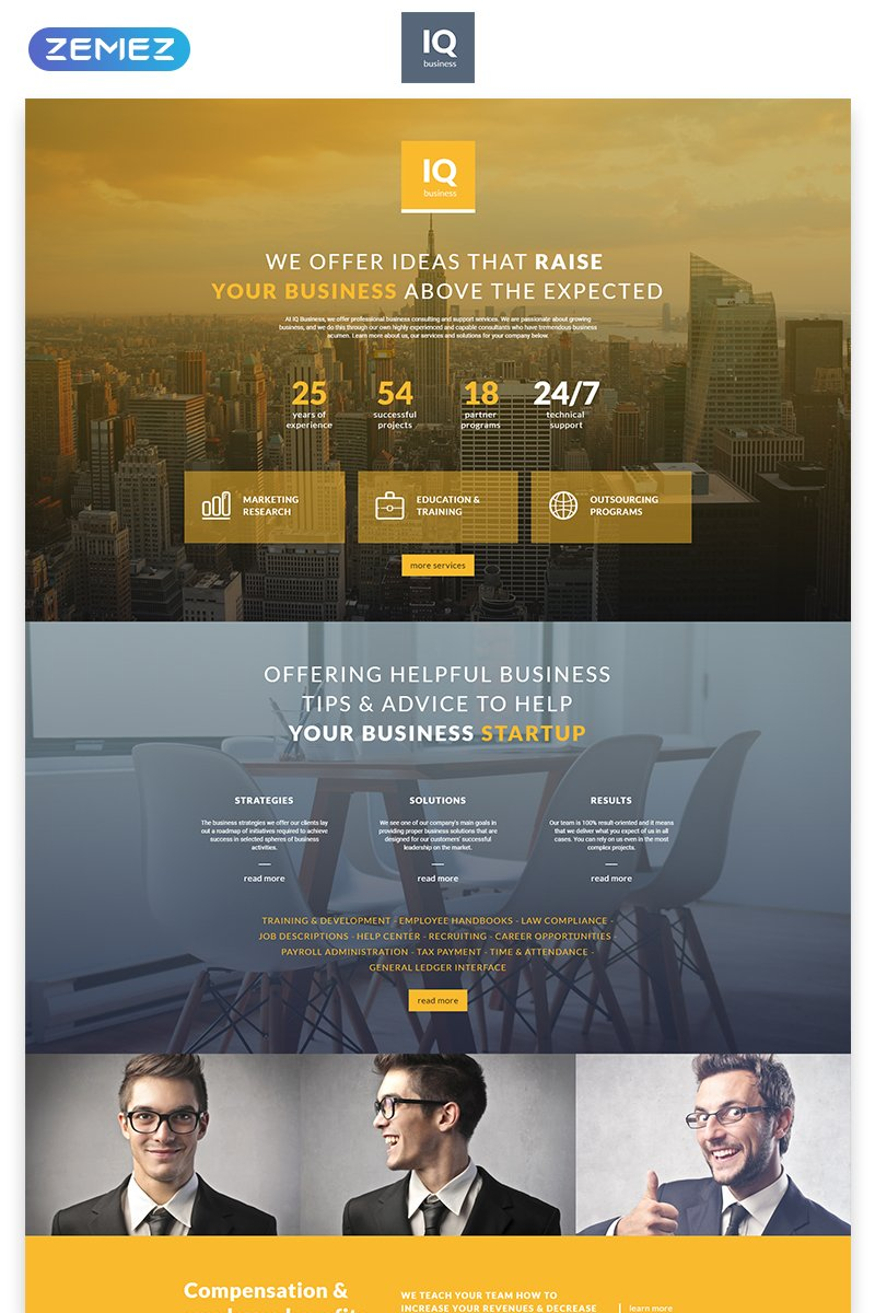IQ - Consulting Modern HTML Landing Page Template