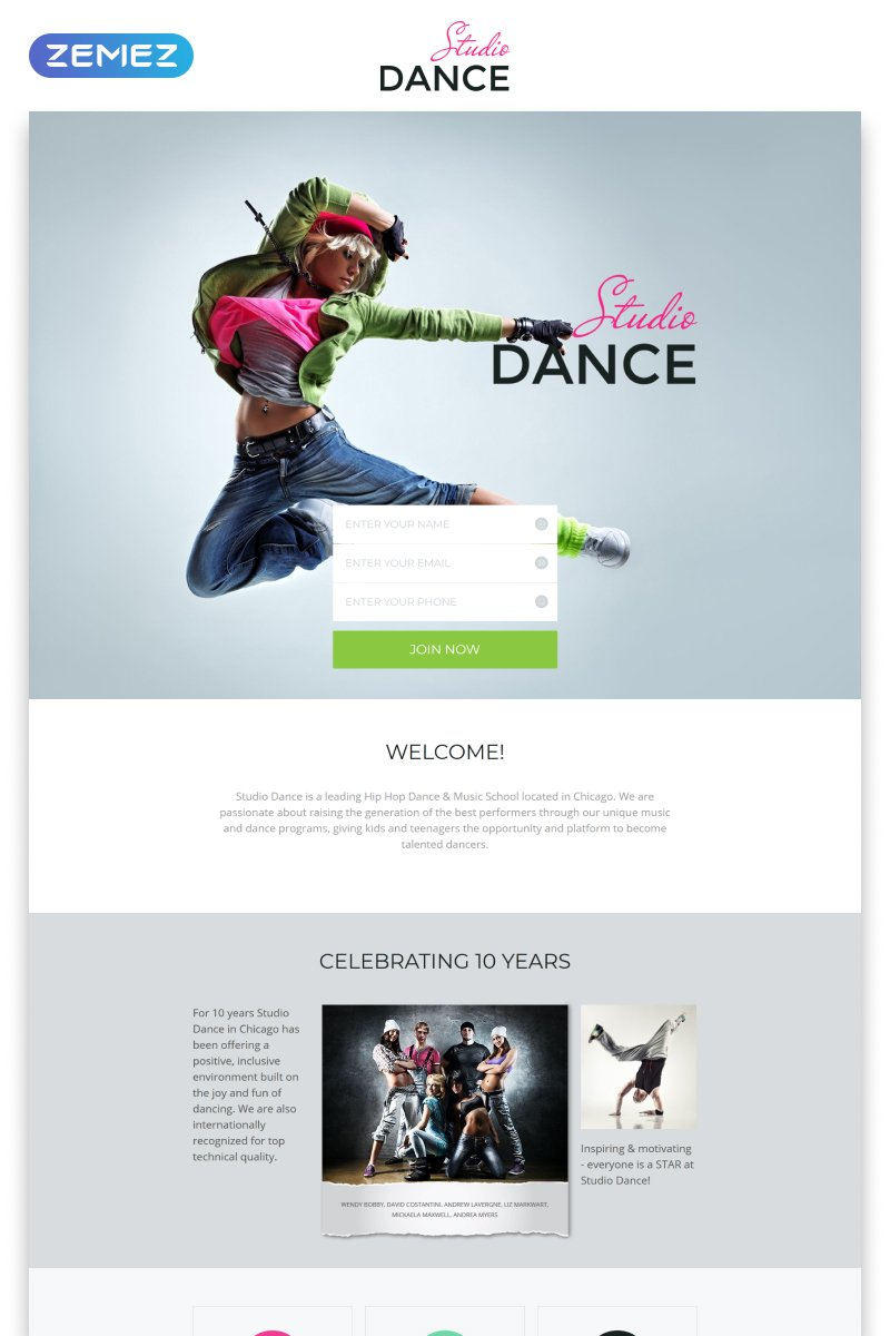 "Landing Page Template namens ""Dance Studio - Special Education Clean HTML5"" #55595"