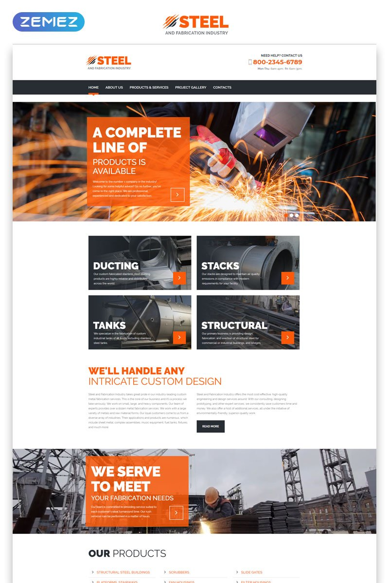 "Modello Siti Web Responsive #55571 ""Steel & Fabrication Industry - Steelworks Clean Responsive HTML"""