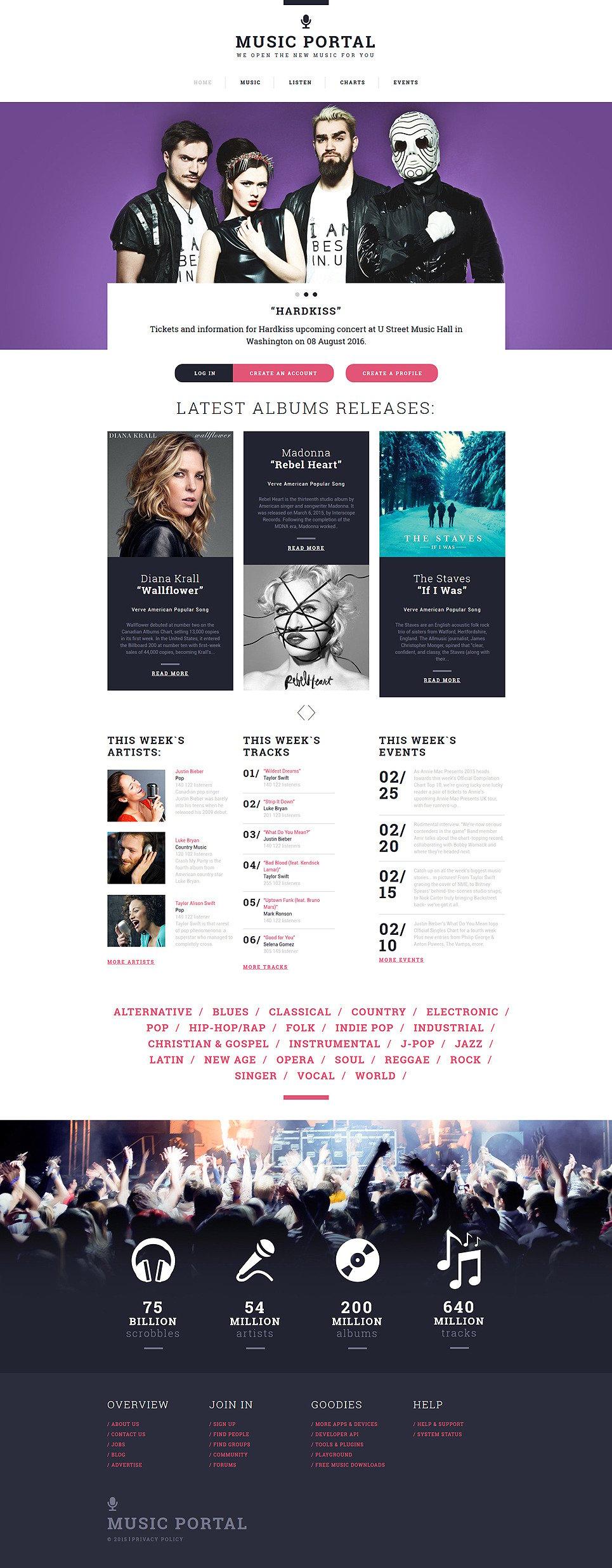 Music Portal Responsive Website Template New Screenshots BIG