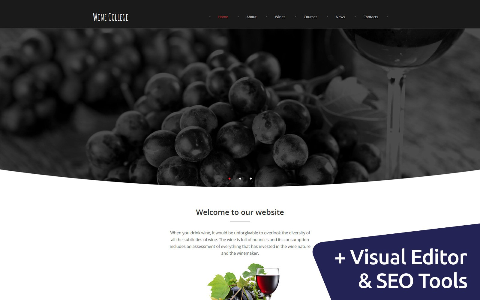 Online Wine Club Moto CMS 3 Template