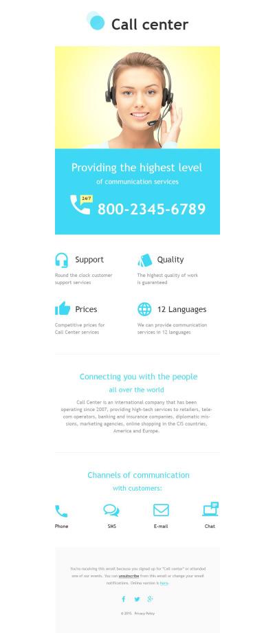 Responsive Plantilla De Boletín De Noticias #55586 para Sitio de  para Sitio de Centros de llamadas