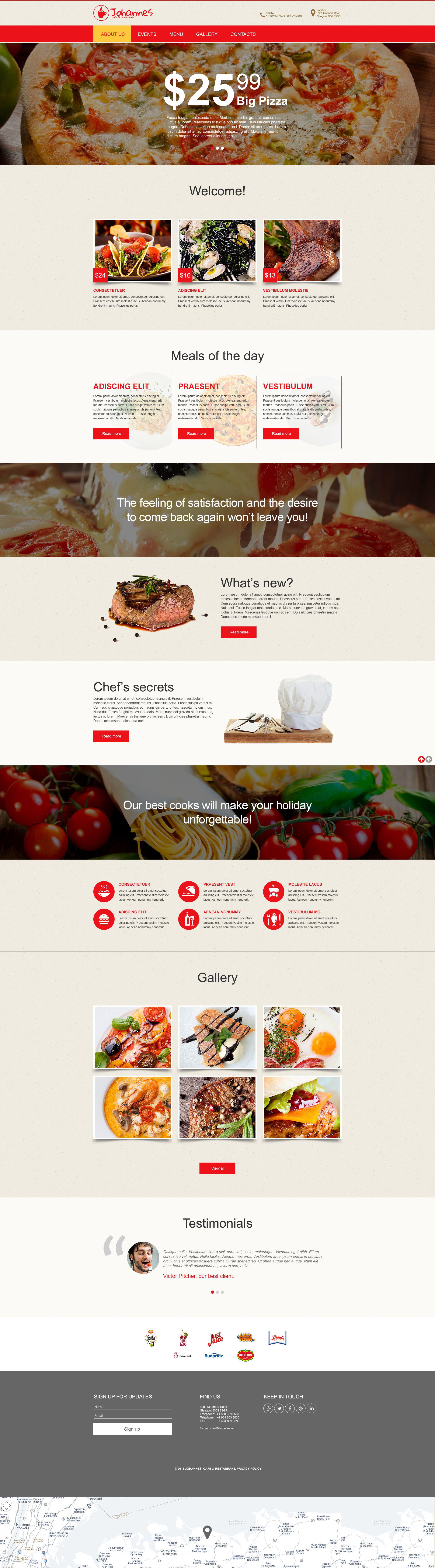 Plantilla Muse #55546 para Sitio de Cafeterías y Restaurantes