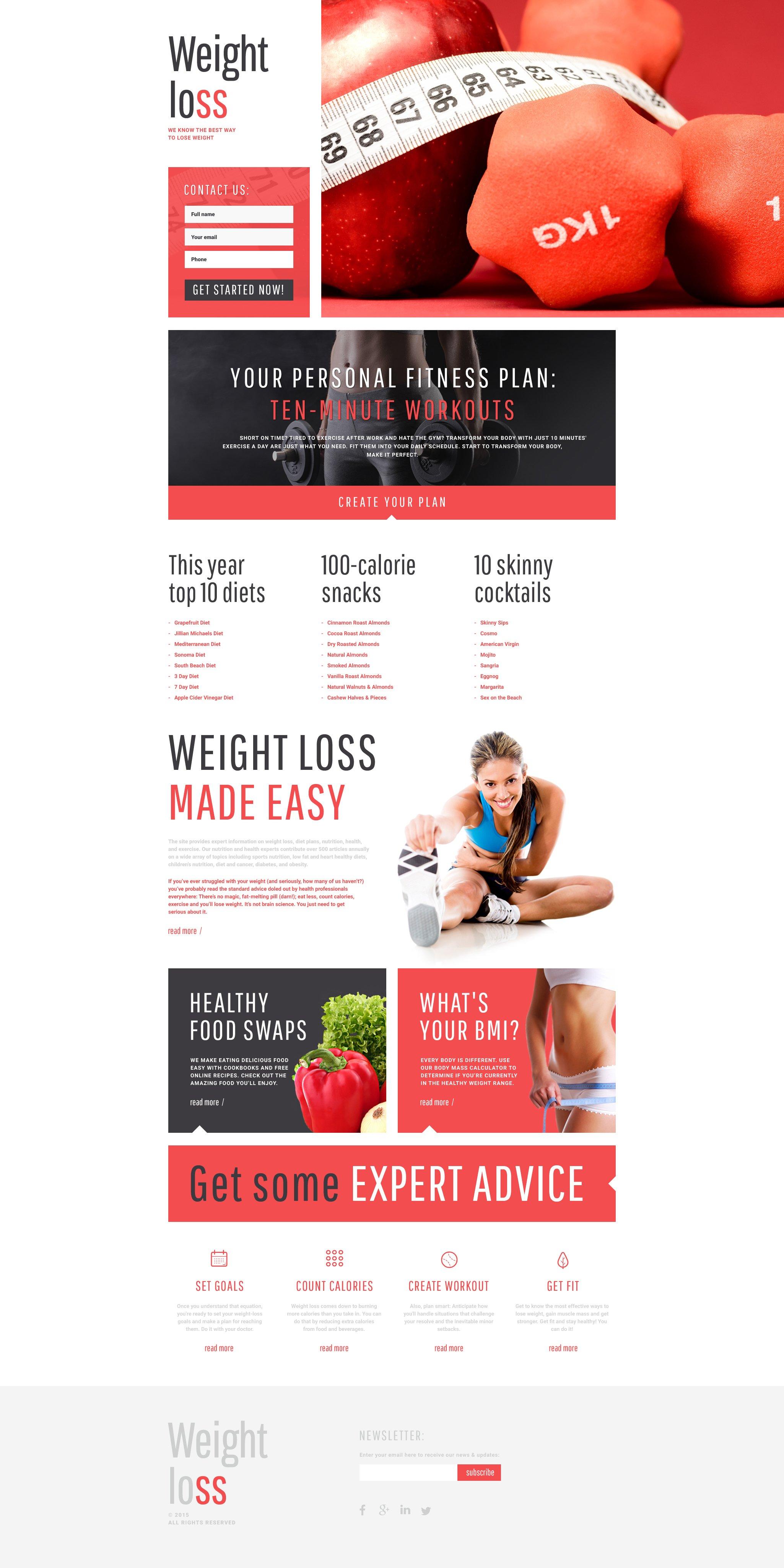 Responsives Landing Page Template für Gewichtsabnahme #55572