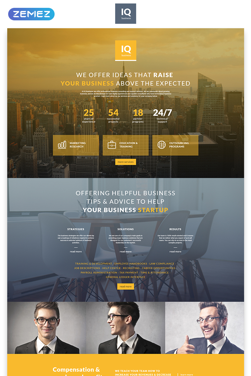 Responsivt IQ - Consulting Modern HTML Landing Page-mall #55542
