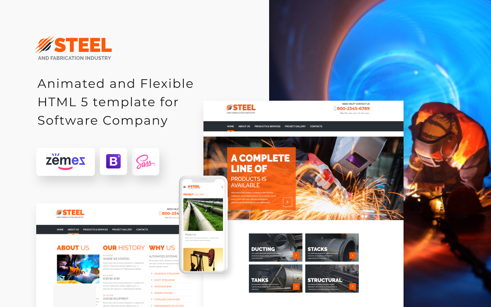 Responsivt Steel - Metal Fabrication Industry Website Template Hemsidemall #55571