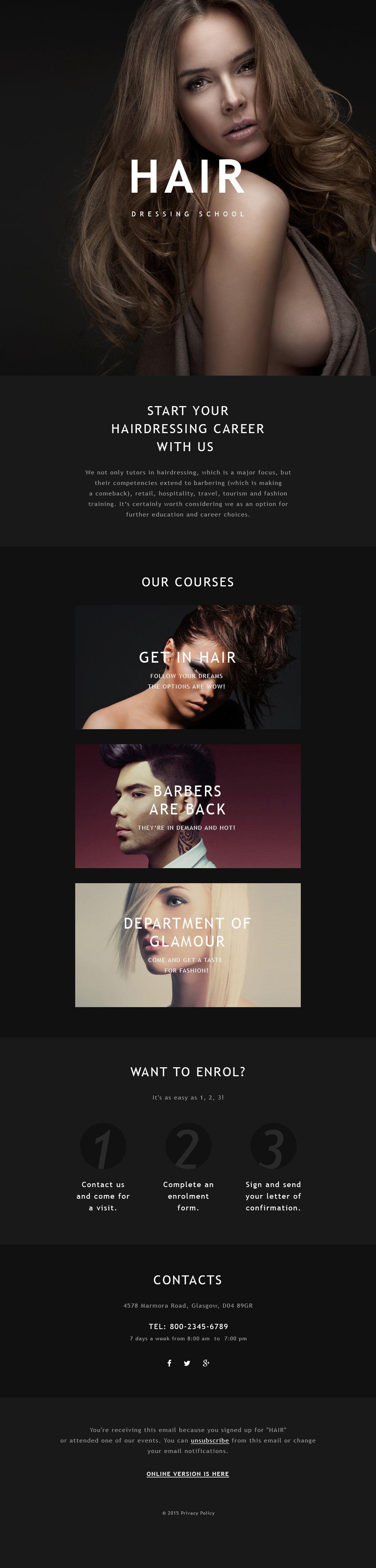 Responsywny szablon Newsletter #55585 na temat: salon fryzjerski - zrzut ekranu