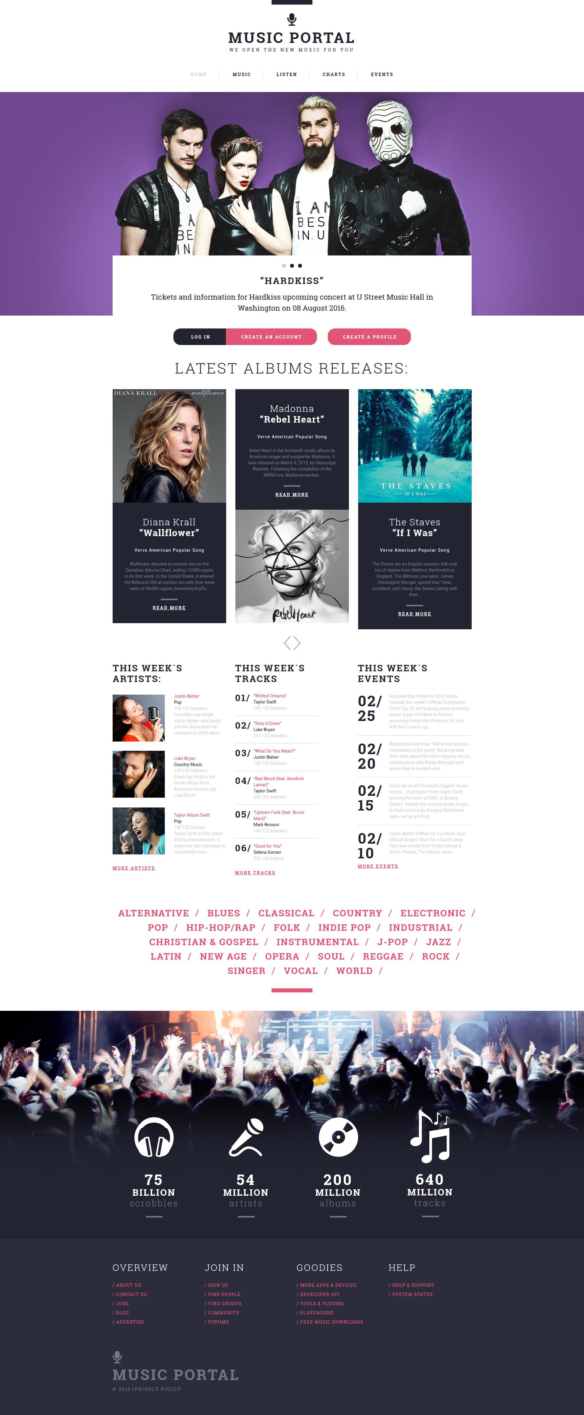 Reszponzív Zene portál Weboldal sablon 55566 - képernyőkép