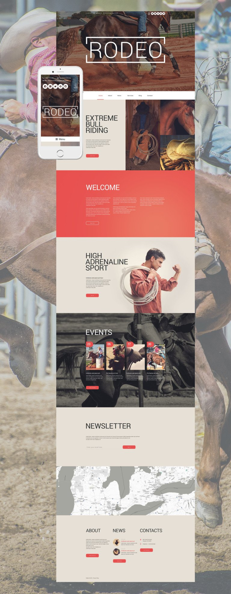 Rodeo Arena WordPress Theme New Screenshots BIG