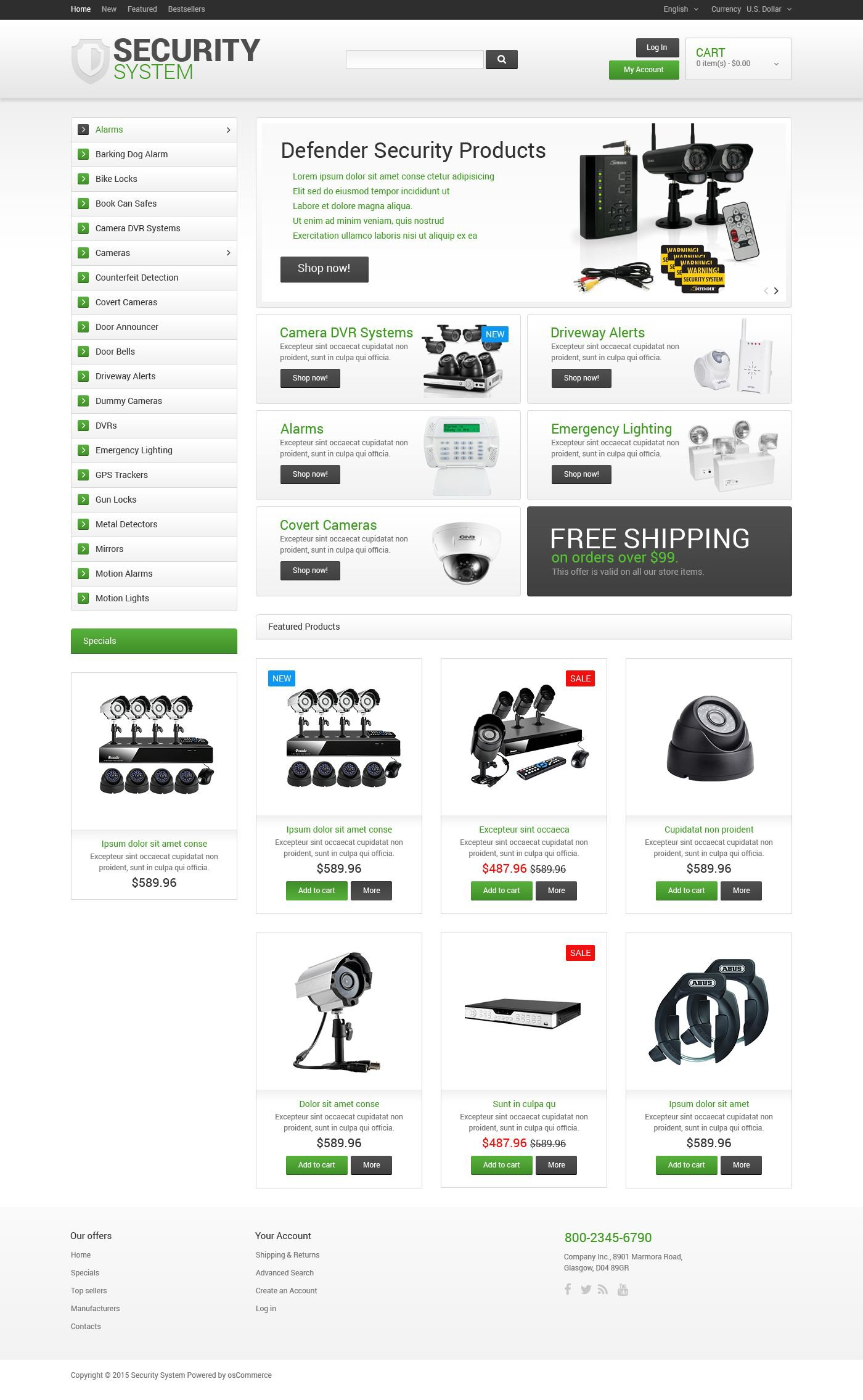 Security System osCommerce-mall #55554 - skärmbild