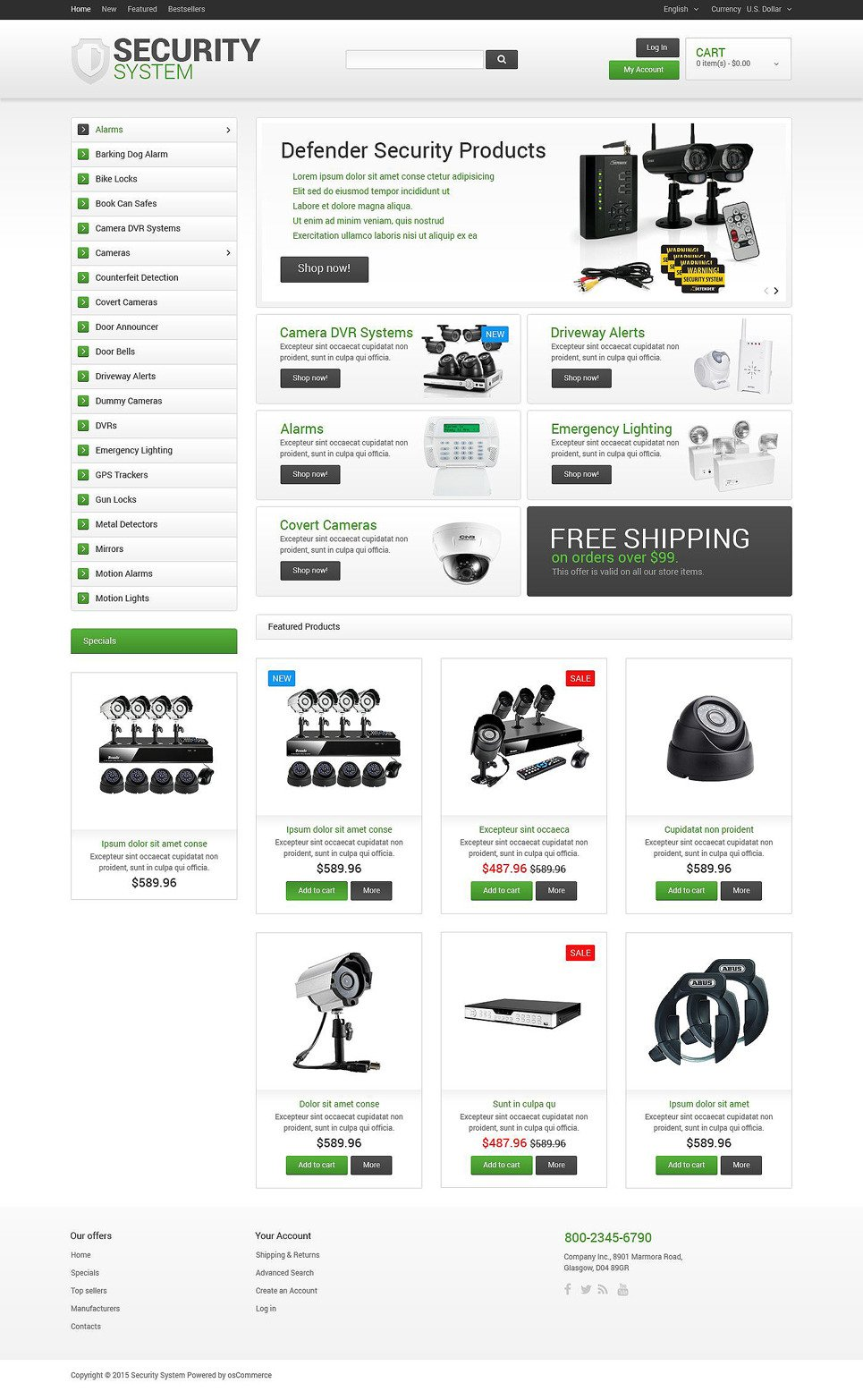 Security System OsCommerce Template New Screenshots BIG