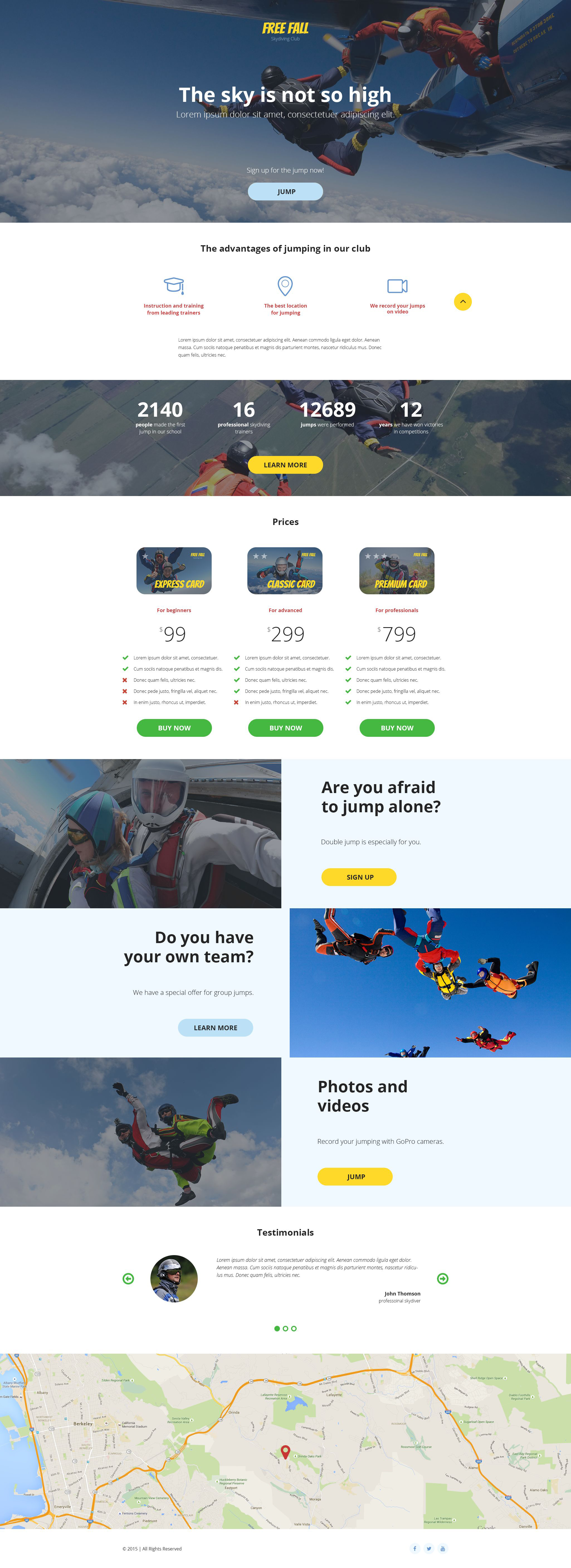Skydiving Responsive Landing Page Template