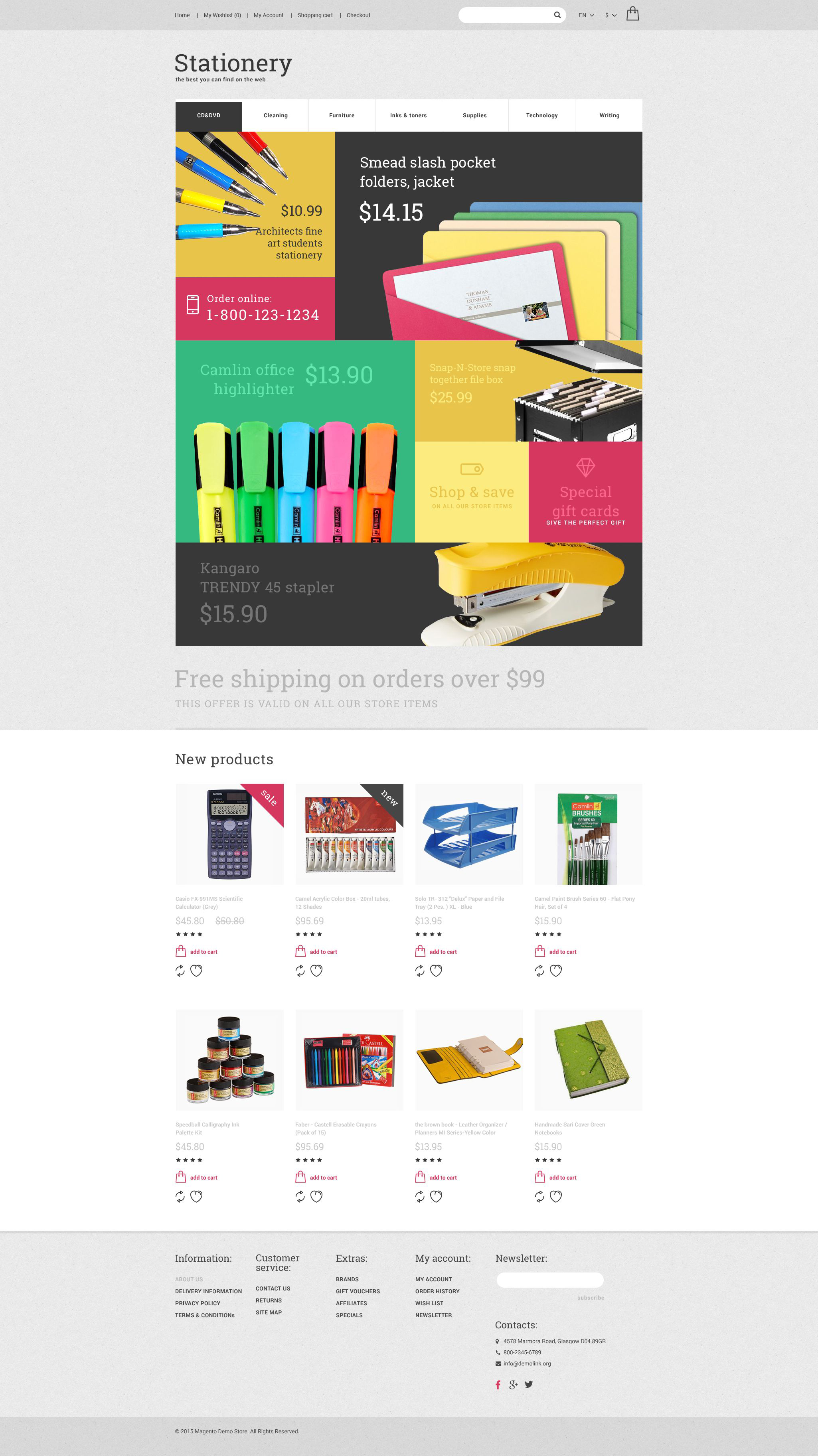 """""""Stationery"""" Responsive OpenCart Template №55593"""