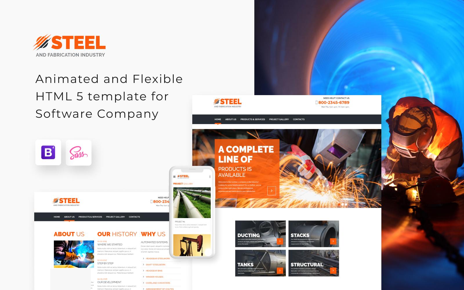 """Steel - Metal Fabrication Industry Website Template"" 响应式网页模板 #55571"