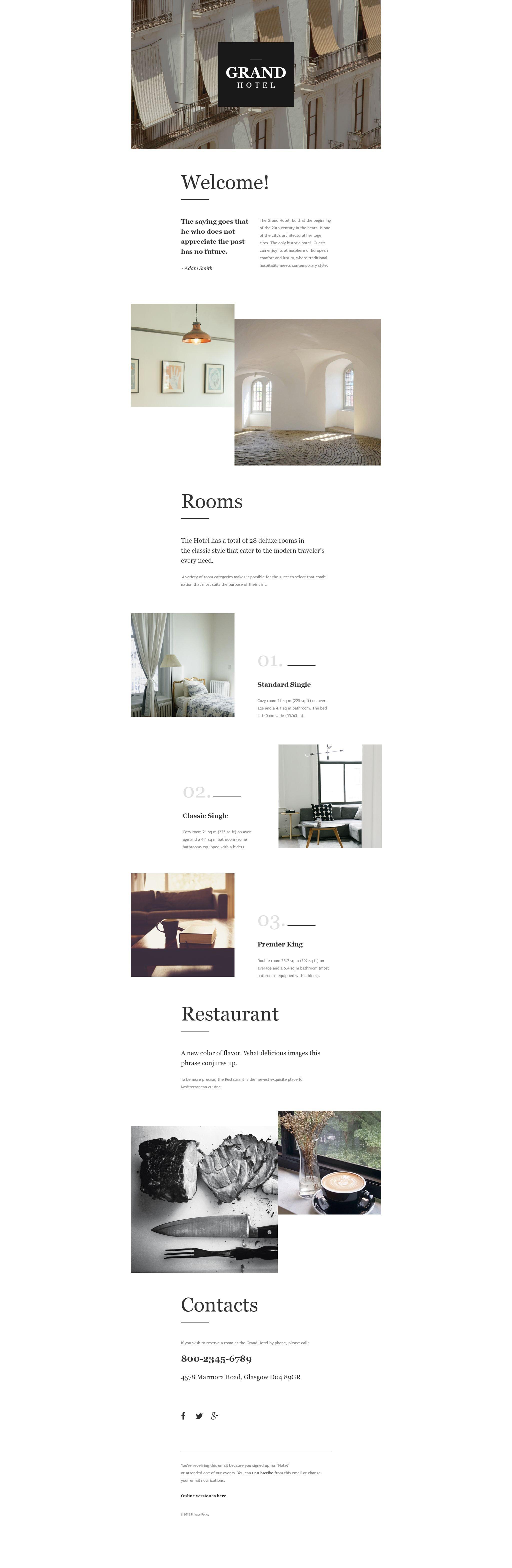 Tema di Newsletter Responsive #55545 per Un Sito di Hotel