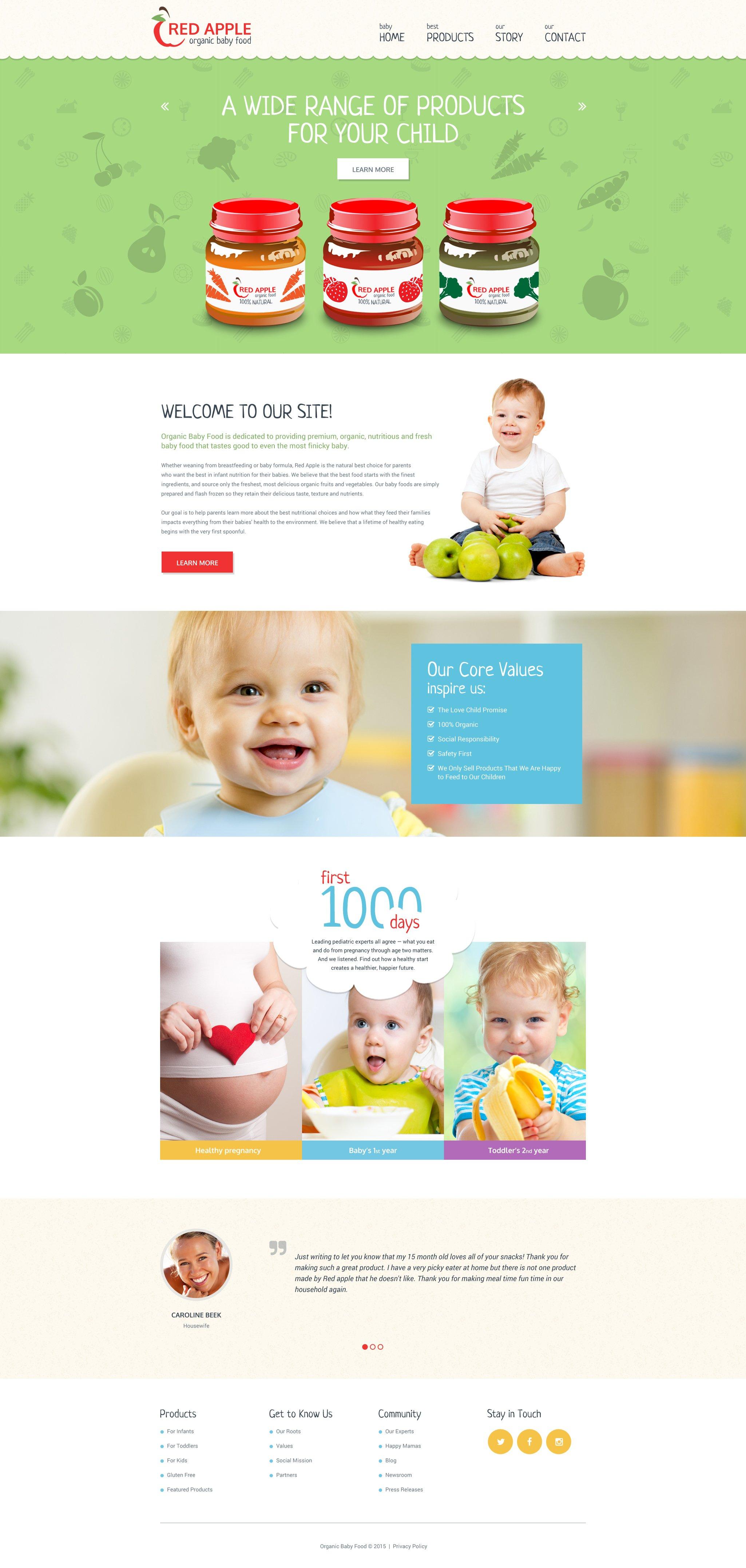 "Tema Siti Web Responsive #55569 ""Alimenti Organici per Bambini"""