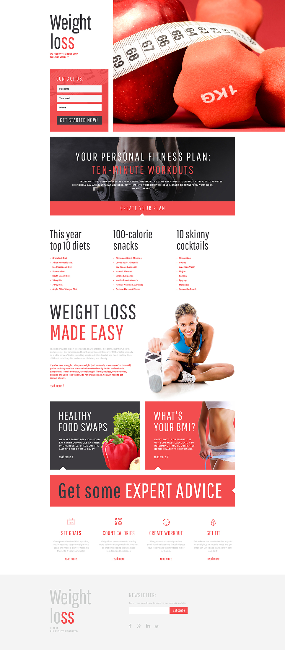 Live Preview For Weight Loss Responsive Landing Page Template 55572