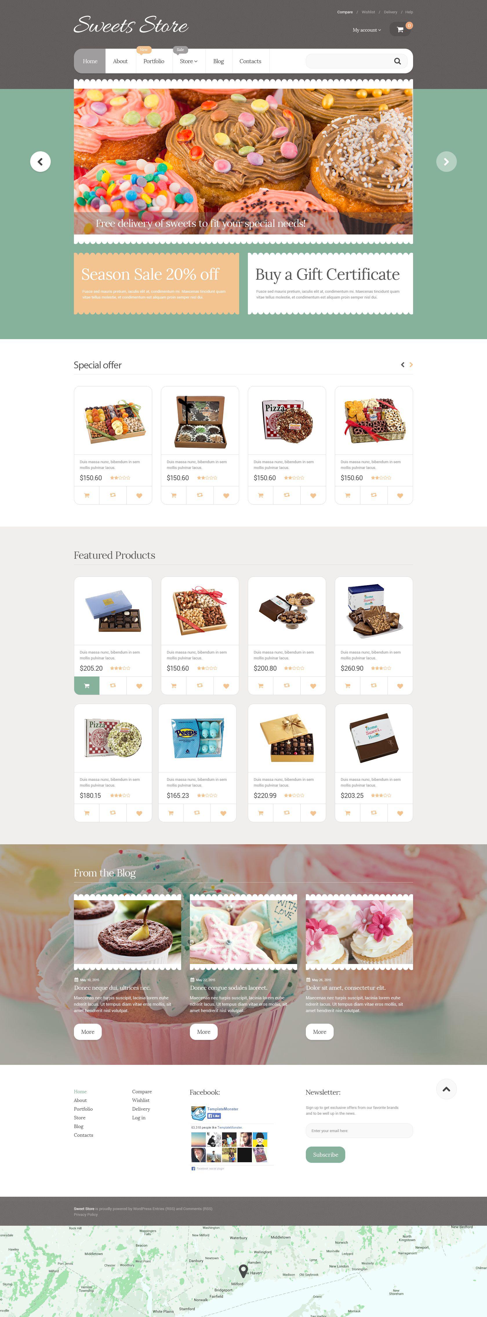 """Yummy Sweets"" - адаптивний WooCommerce шаблон №55592"