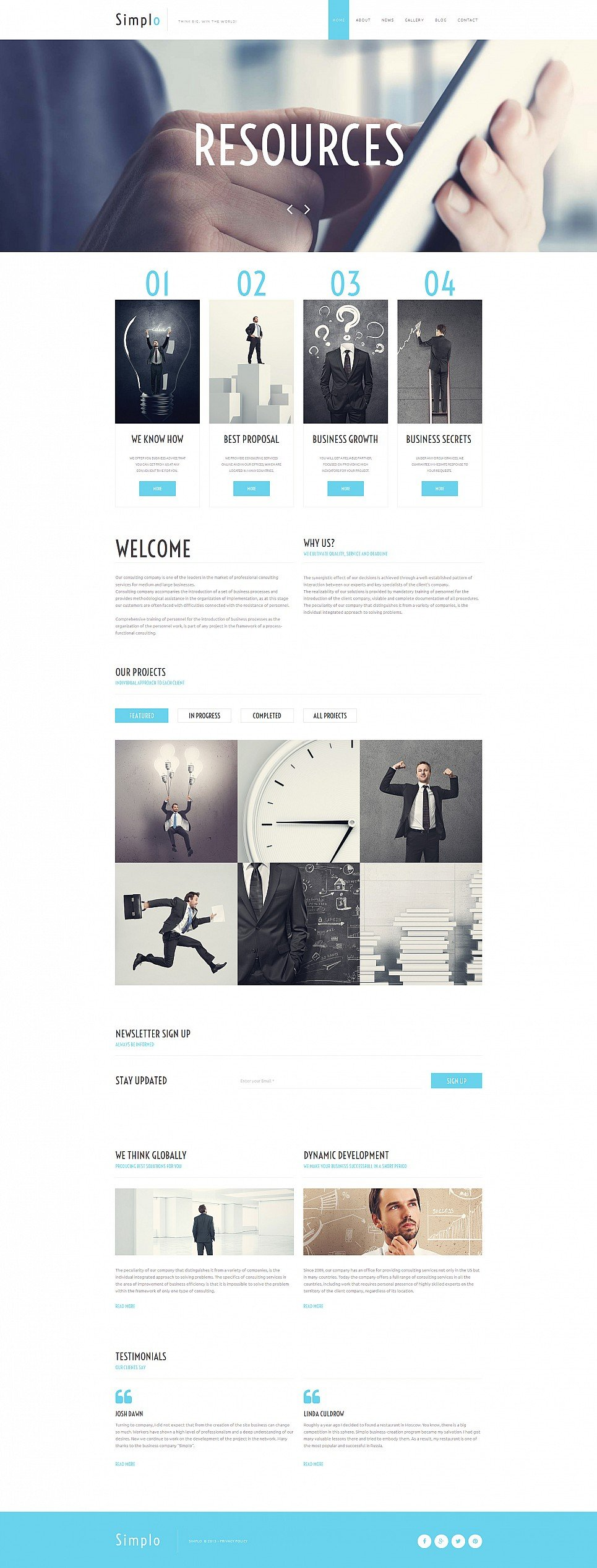 White and blue web theme for business analyst