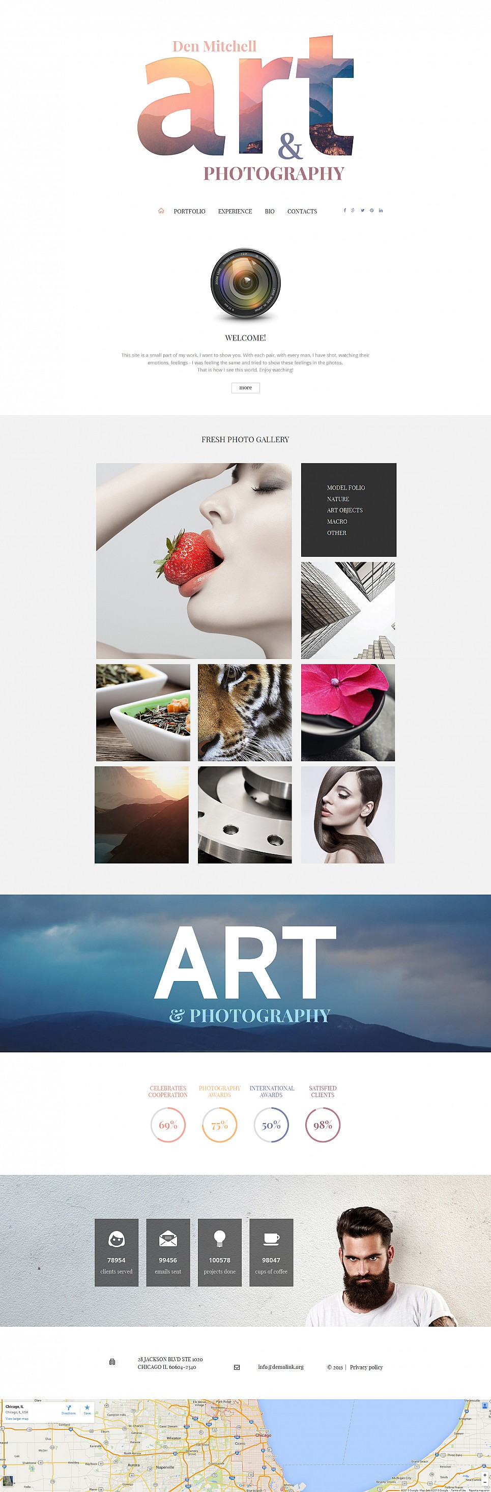 White background web template for photographers