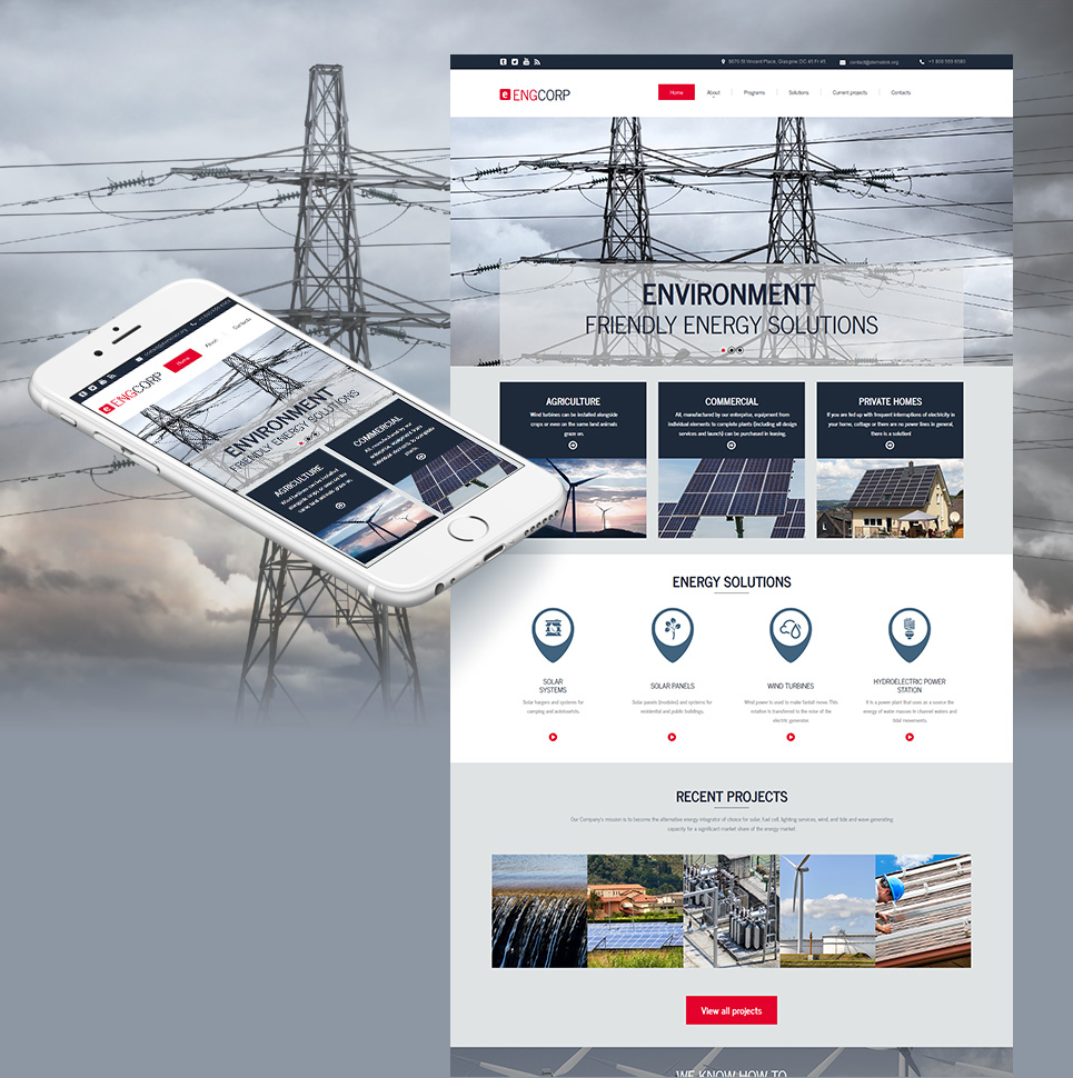 Grey web design for energy company
