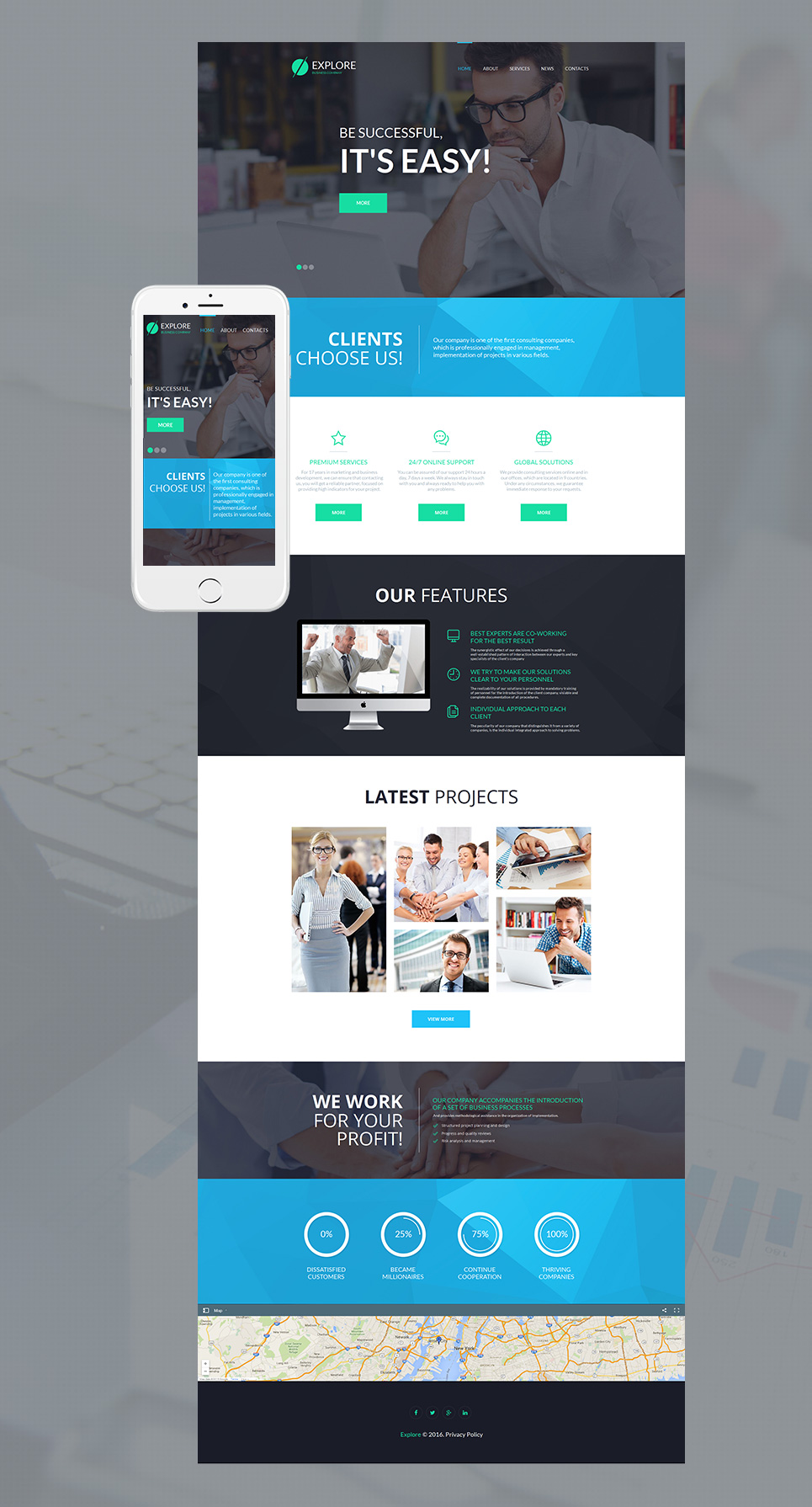 Universal site template for entrepreneurship