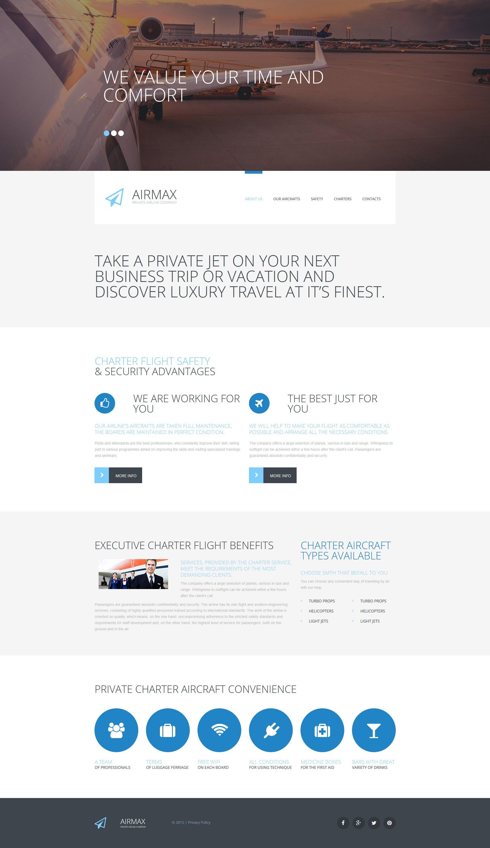 Адаптивний MotoCMS 3 шаблон на тему приватна авіакомпанія №55634 - скріншот