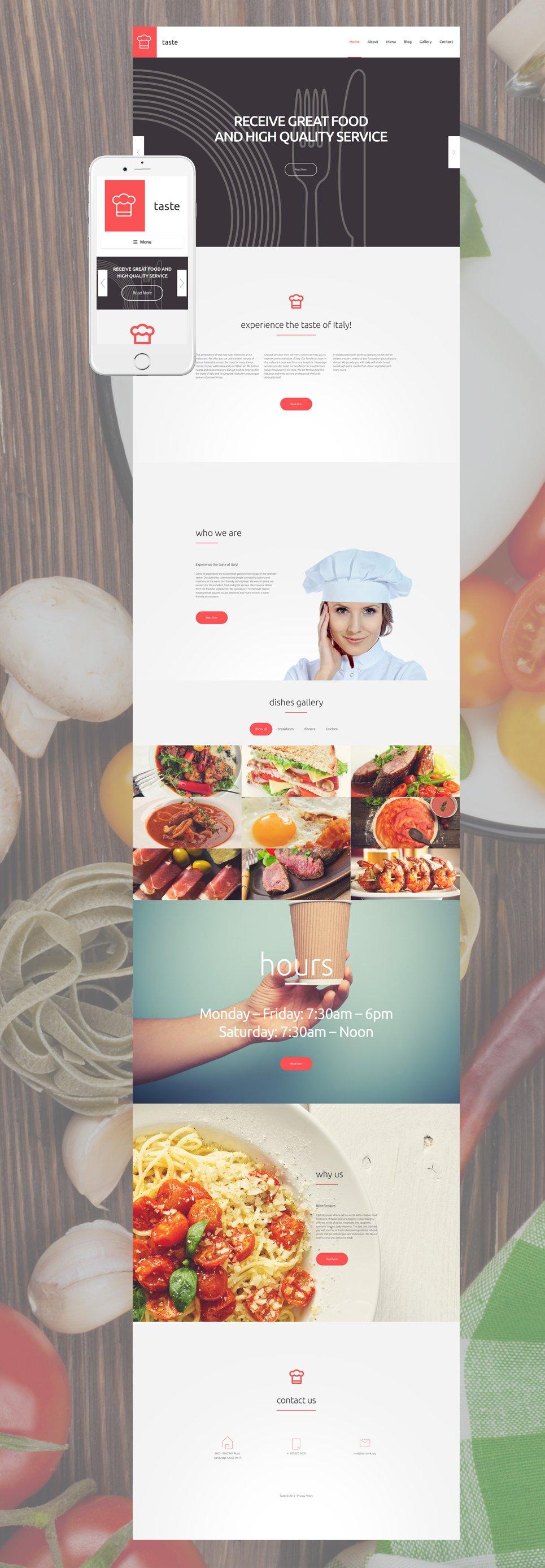 Адаптивный шаблон сайта на тему напитки и еда #55690