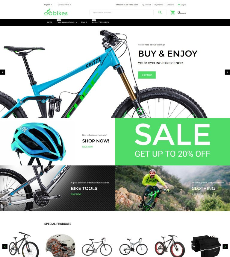 Bike Shop Magento Theme